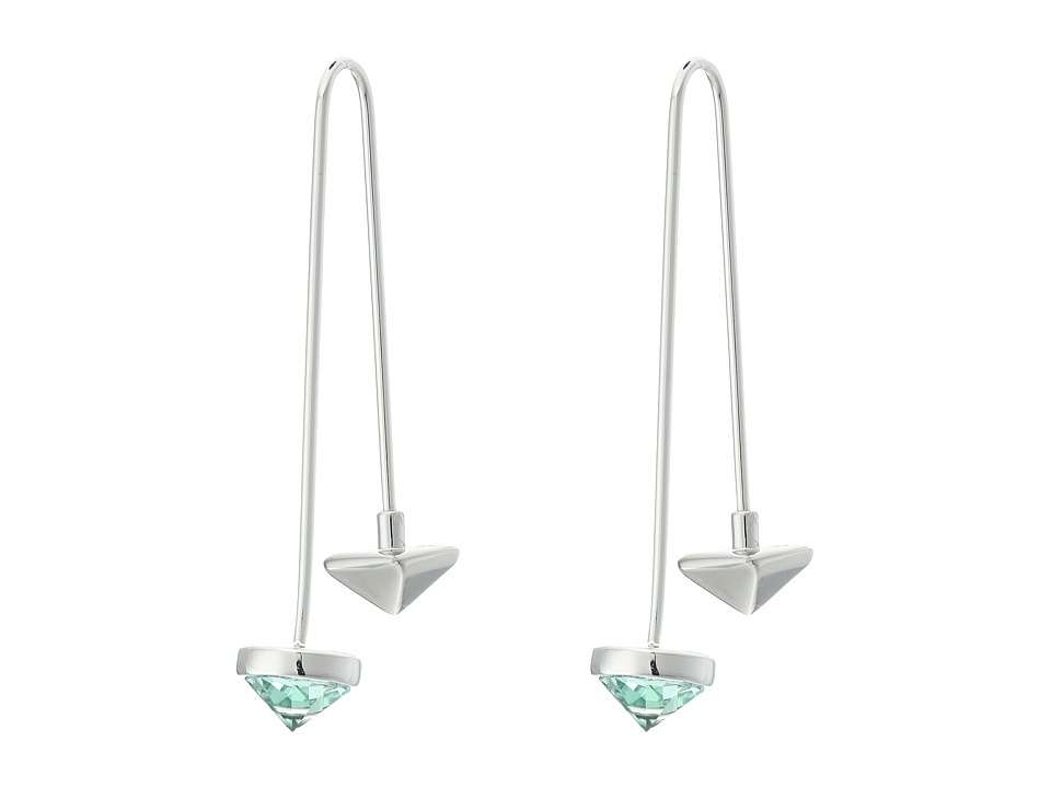 Rebecca Minkoff - Gem Stone Hard Wire Threader Earrings (Rhodium/Green) Earring