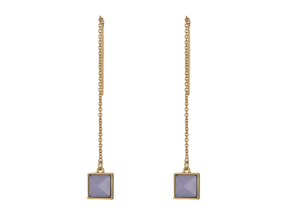 Rebecca Minkoff - Stone Threader Earrings (Gold/Blue) Earring
