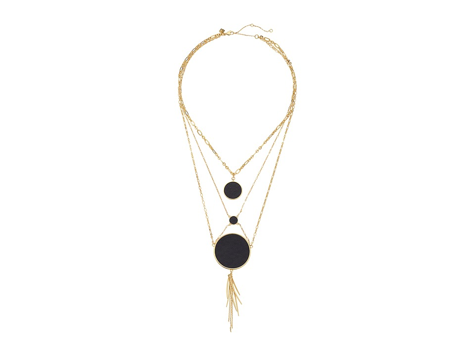 Rebecca Minkoff - Leather Inlet Statement Necklace (Gold/Black) Necklace
