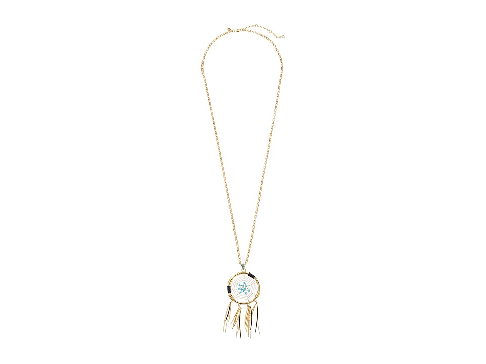 Rebecca Minkoff - Large Dream Catcher Pendant Necklace (34) (Gold/Turquoise) Necklace