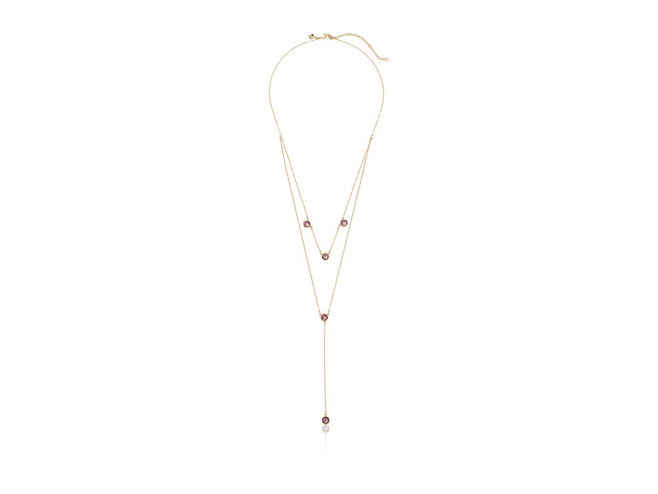 Rebecca Minkoff - Gem Stone Two Row Lariat Necklace (Gold/Purple) Necklace