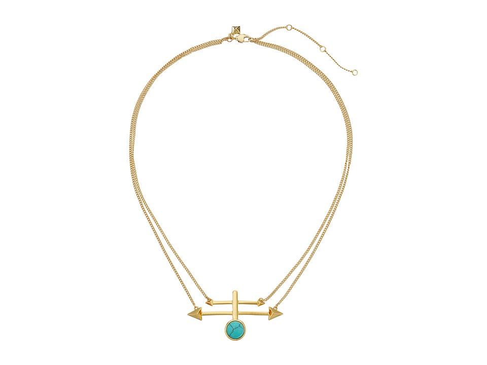 Rebecca Minkoff - Boho Bead/Spike Pendant Necklace (Gold/Turquoise) Necklace