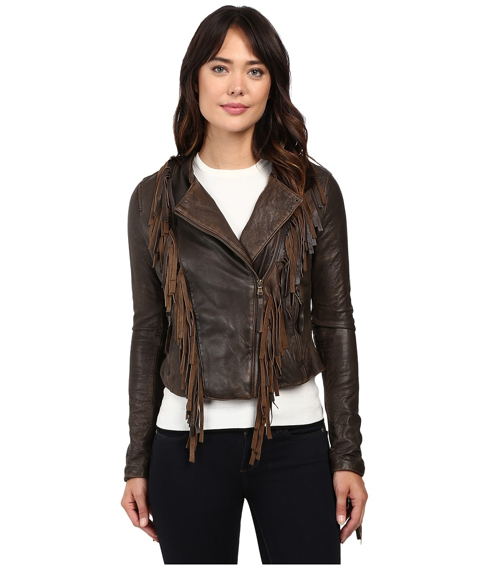 Levi's(r) - Asymmetrical Fringe Leather Jacket (Dark Brown) Women's Coat