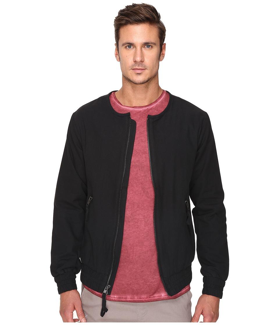Publish - Jericho - Herringbone Twill Bomber Jacket Featuring Binded Neck (Black) Men's Coat