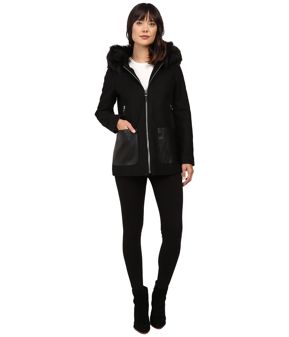 Calvin Klein - Fashion Fur Trimmed Hood with Oversized PU Pocket (Black) Women's Coat