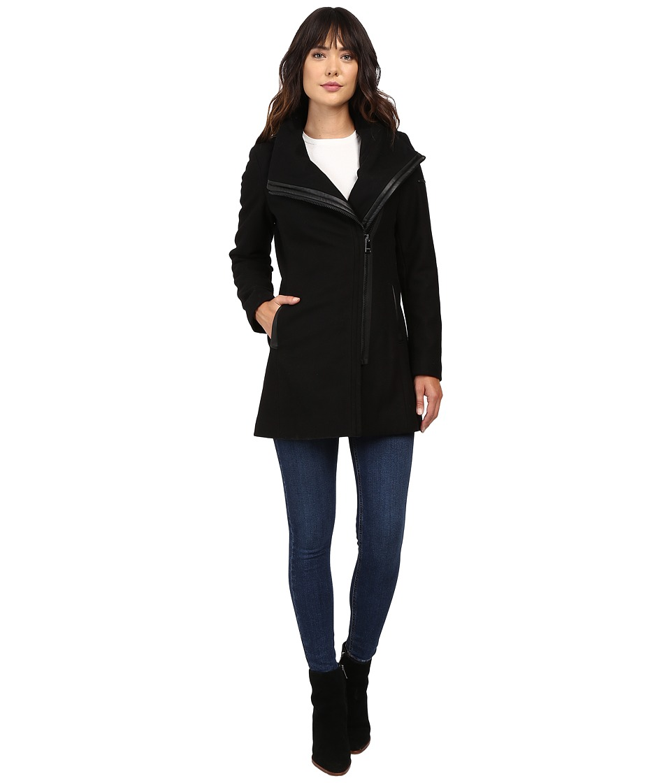 Calvin Klein - Asymmetrical PU Trim Hooded Wool with Quilted Liner (Black) Women's Coat