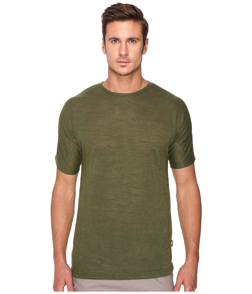 Publish - Cavan - Slubbed Knit on Short Sleeve Tee with Seamless Sleeve (Olive) Men's Clothing