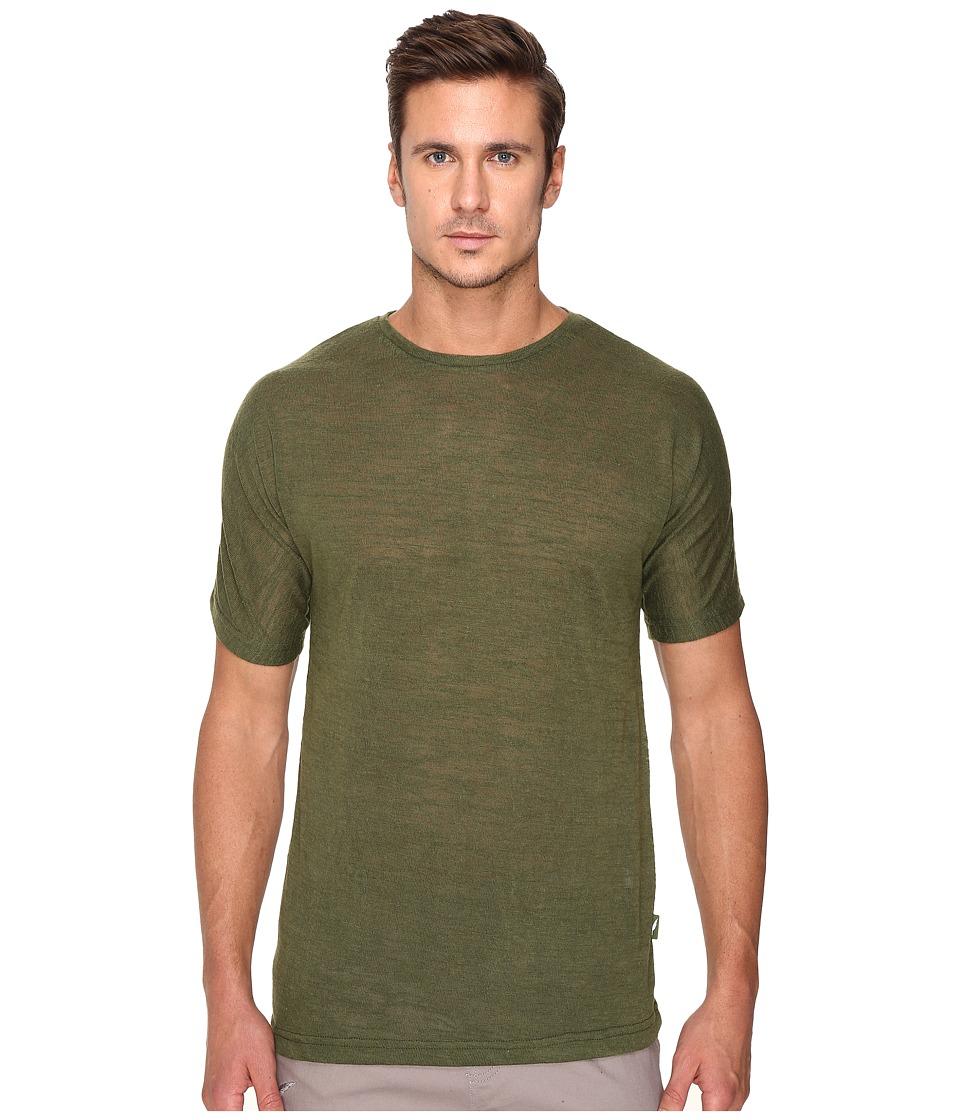 Publish - Cavan - Slubbed Knit on Short Sleeve Tee with Seamless Sleeve (Olive) Men's Clothing