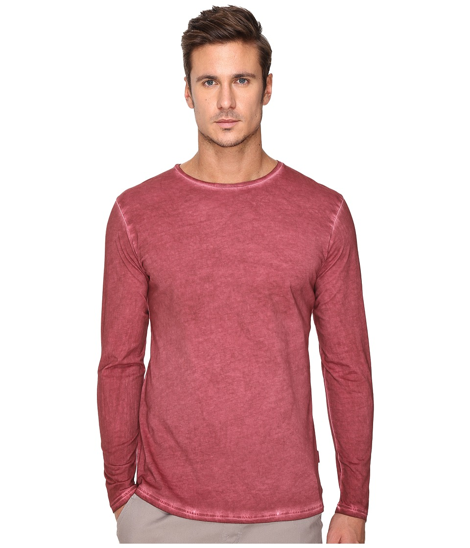 Publish - Divo - Premium Oil Washed Long Sleeve Knit (Maroon) Men's Clothing
