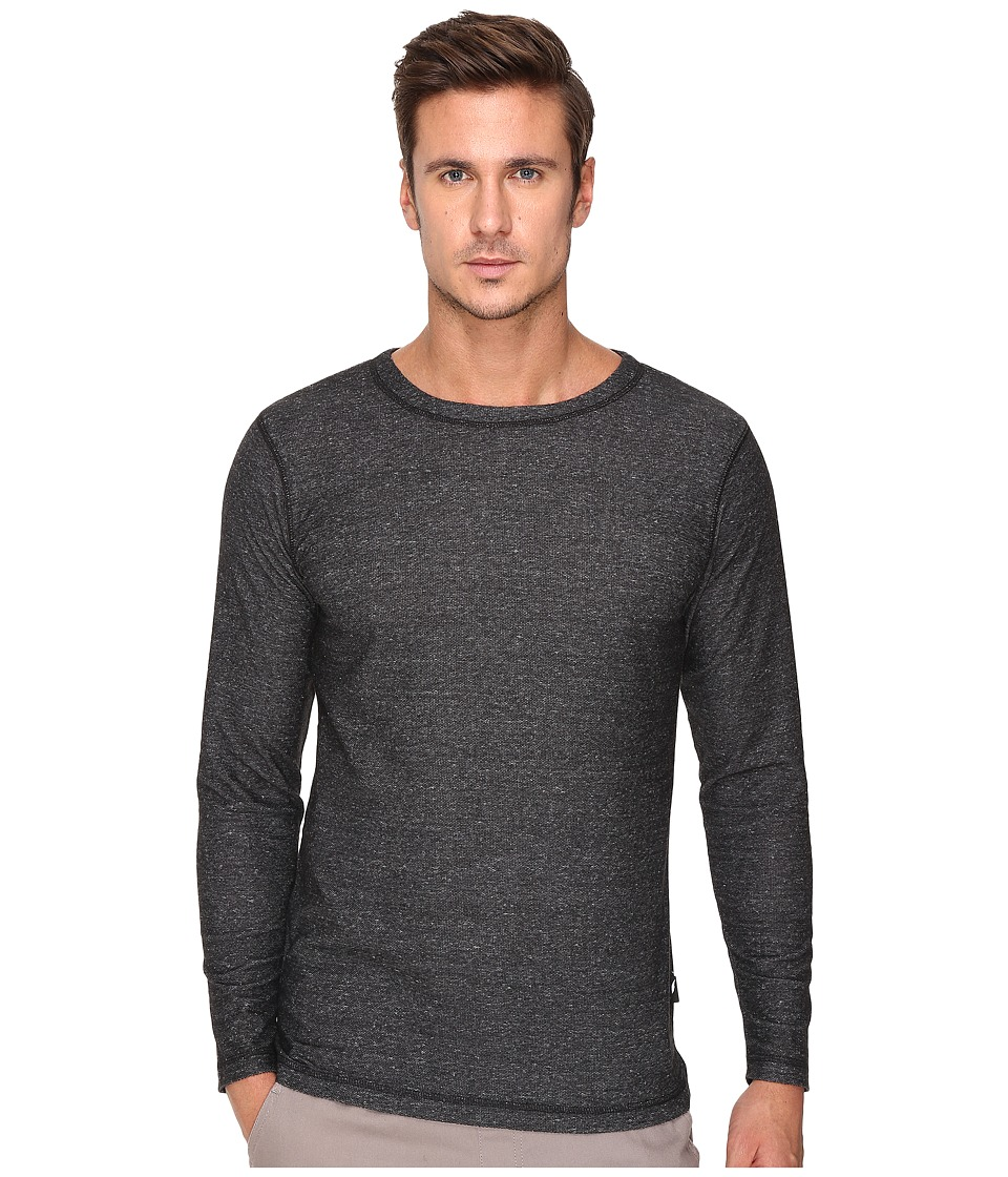 Publish - Kamari - Heathered Terry Long Sleeve with Overlock Stitching Throughout (Charcoal) Men's Clothing