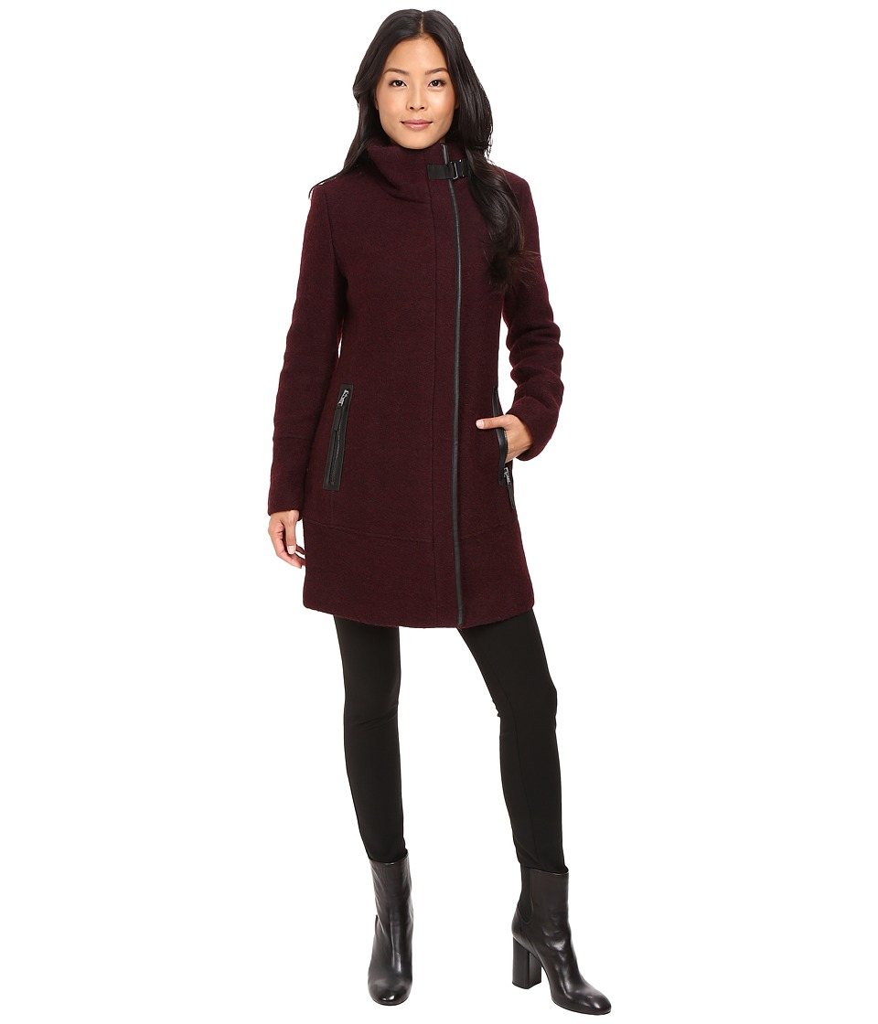Calvin Klein - Twill Wool Coat w/ PU Trim Buckle Collar (Chianti/Black) Women's Coat