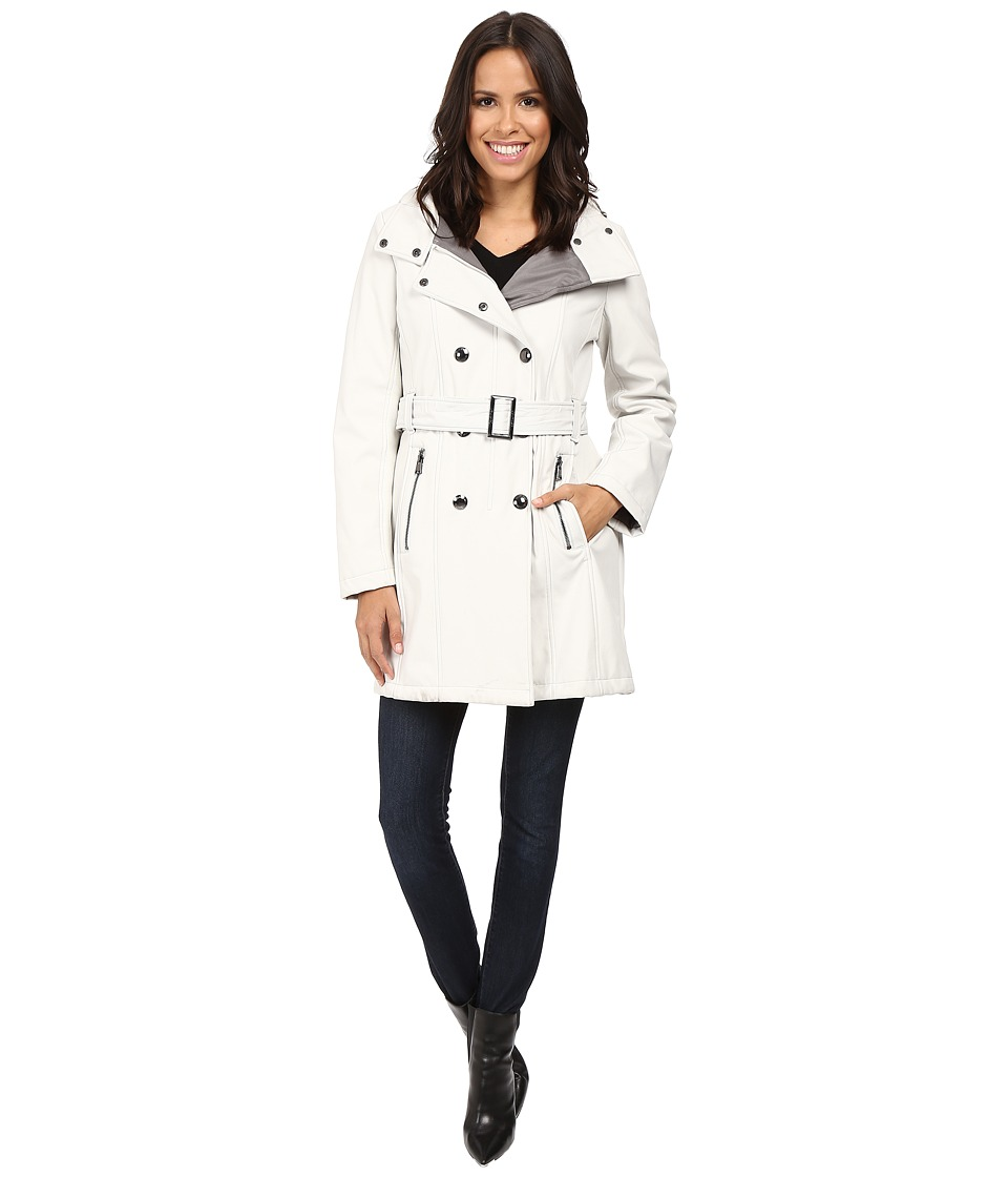 Calvin Klein - Double Breasted Belted Hooded Softshell (Cement) Women's Coat