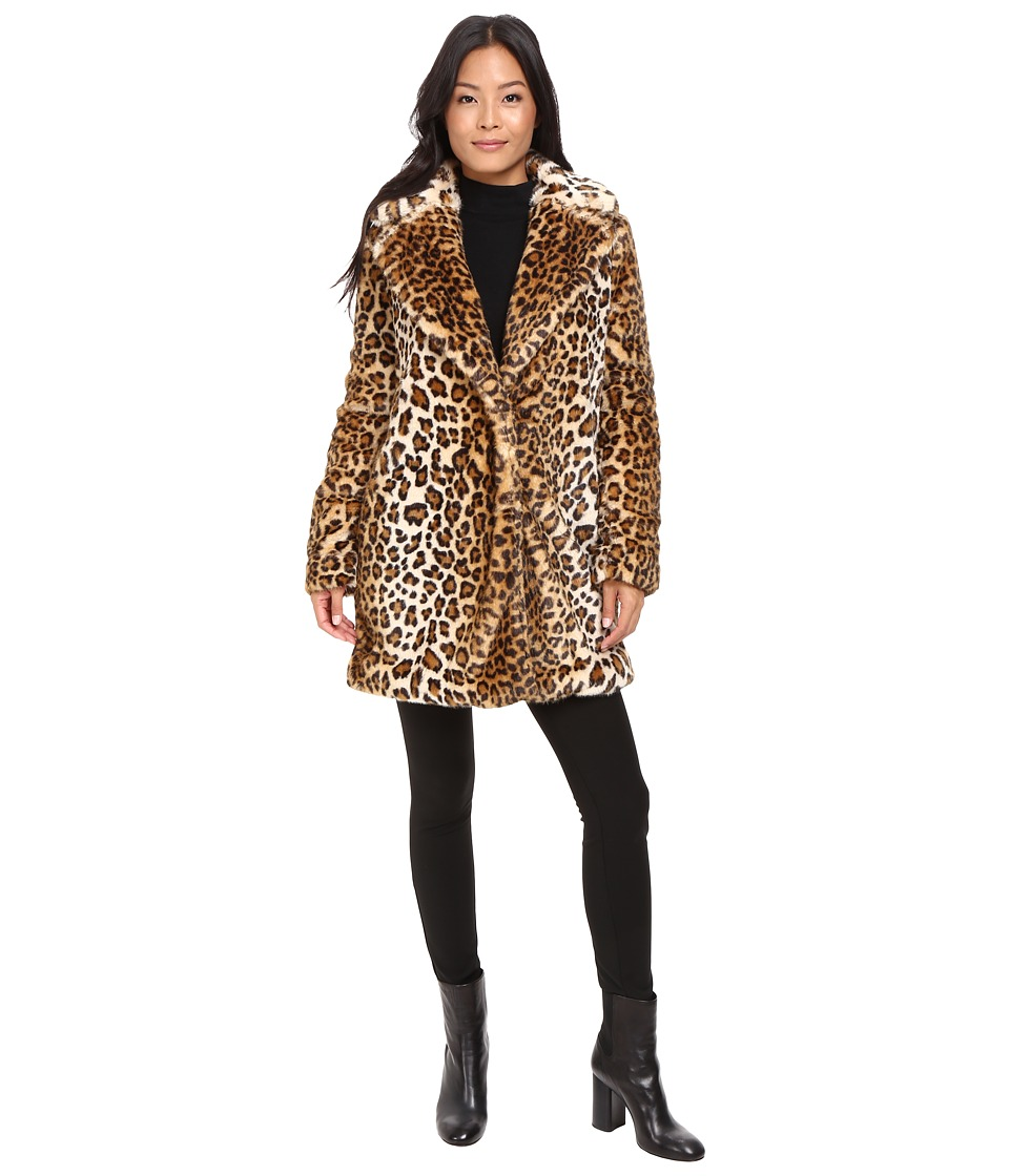 Calvin Klein - Faux Fur with Button Closure (Leopard) Women's Coat
