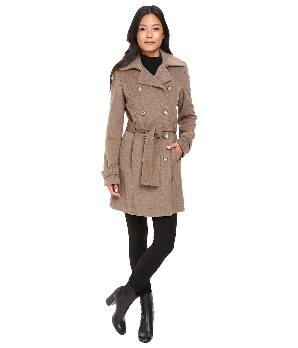 Calvin Klein - Double-Breasted Belted Wool Coat (Oatmeal) Women's Coat