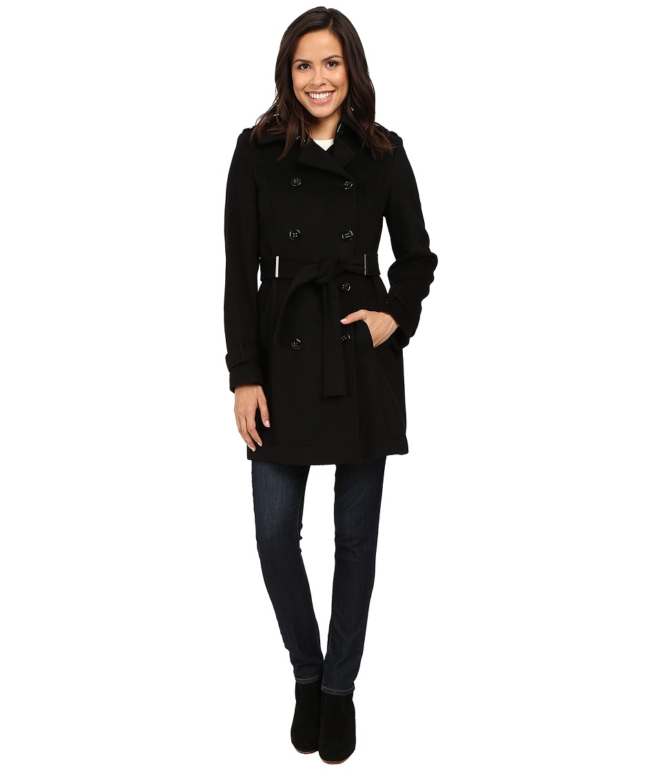 Calvin Klein - Double-Breasted Belted Wool Coat (Black) Women's Coat