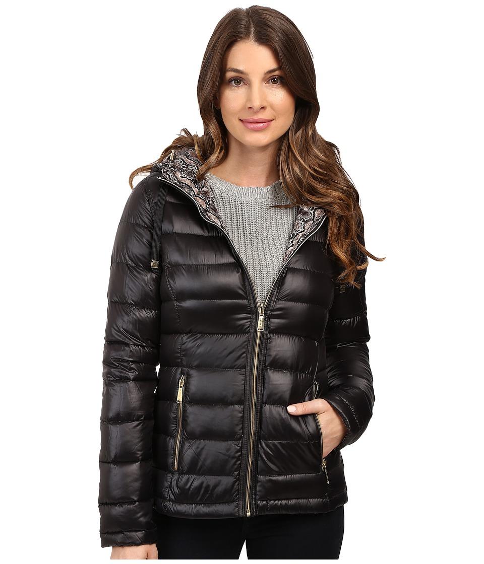 Calvin Klein Reversible Short Hooded Packable Down (Black/Microsnake) Women