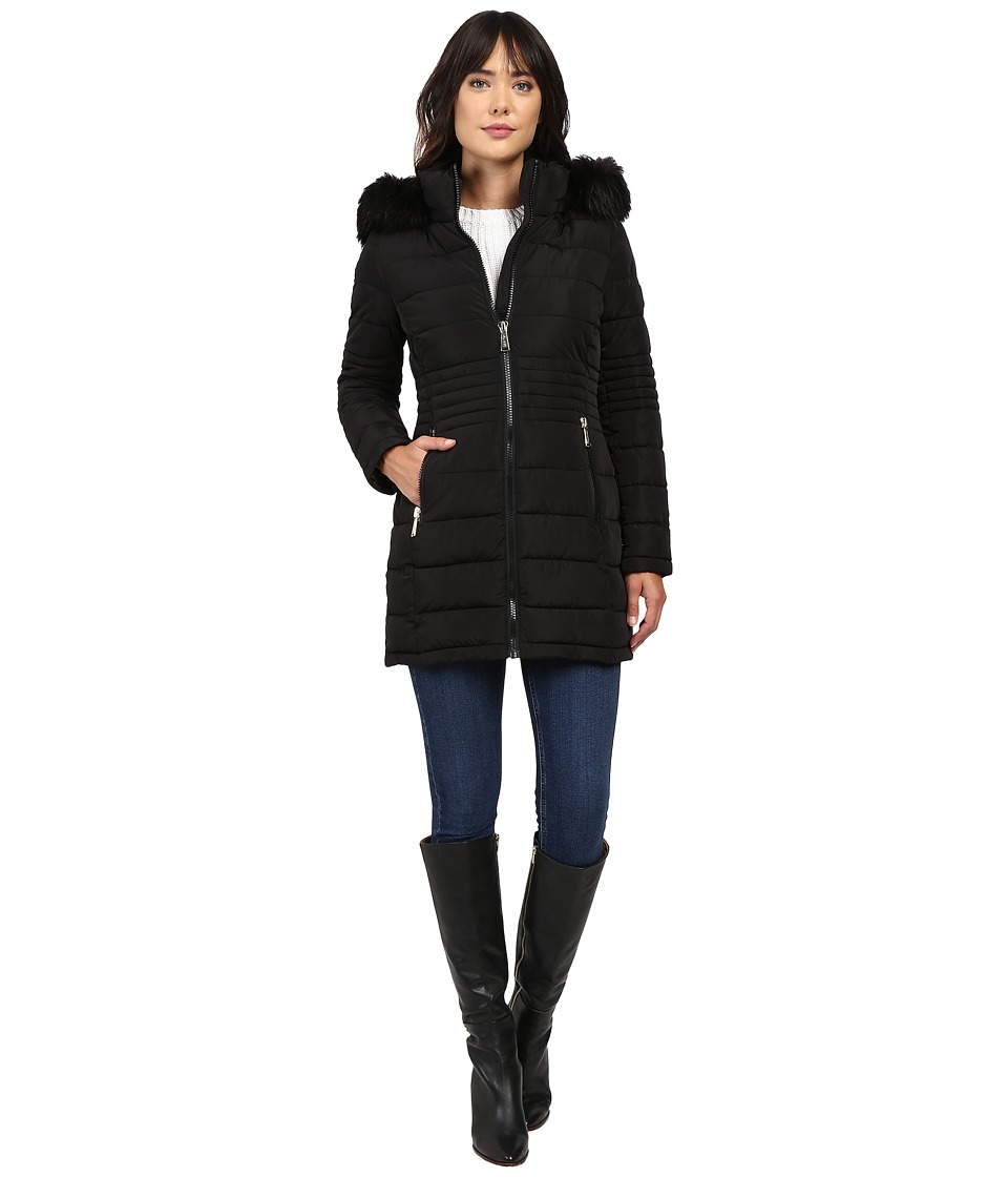Calvin Klein - Long Fur Trimmed Down w/ Waist Detail (Black) Women's Coat