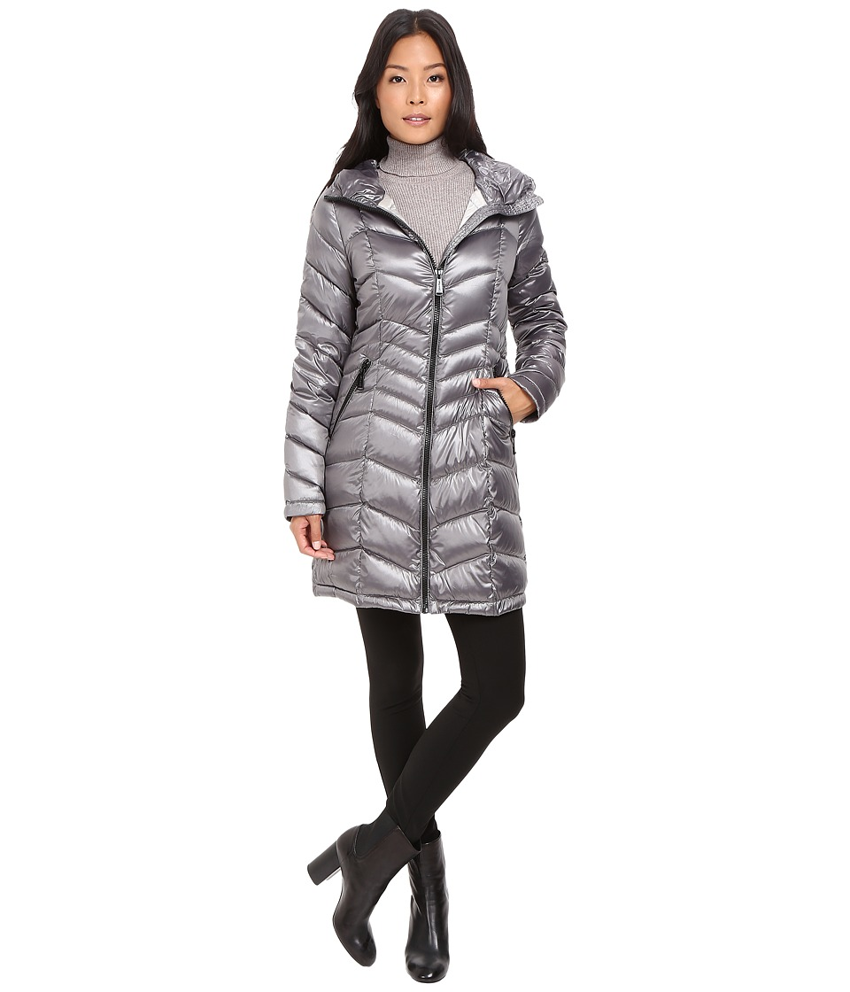 Calvin Klein - Long Hooded Packable Down with Waist Detail (Shine Granite) Women's Coat