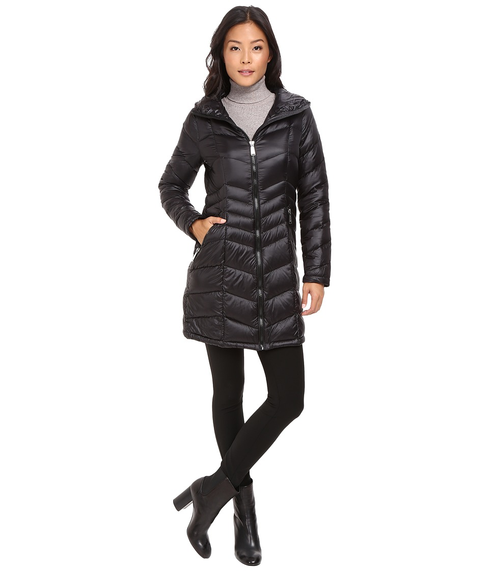 Calvin Klein - Long Hooded Packable Down with Waist Detail (Black) Women's Coat