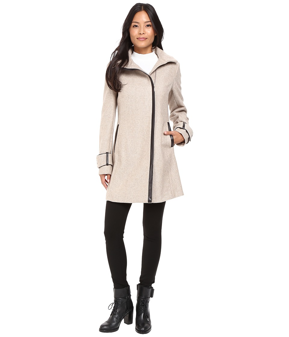 Calvin Klein - Asymmetrical Zip Twill Wool Coat w/ PU Trim (Oatmeal) Women's Coat