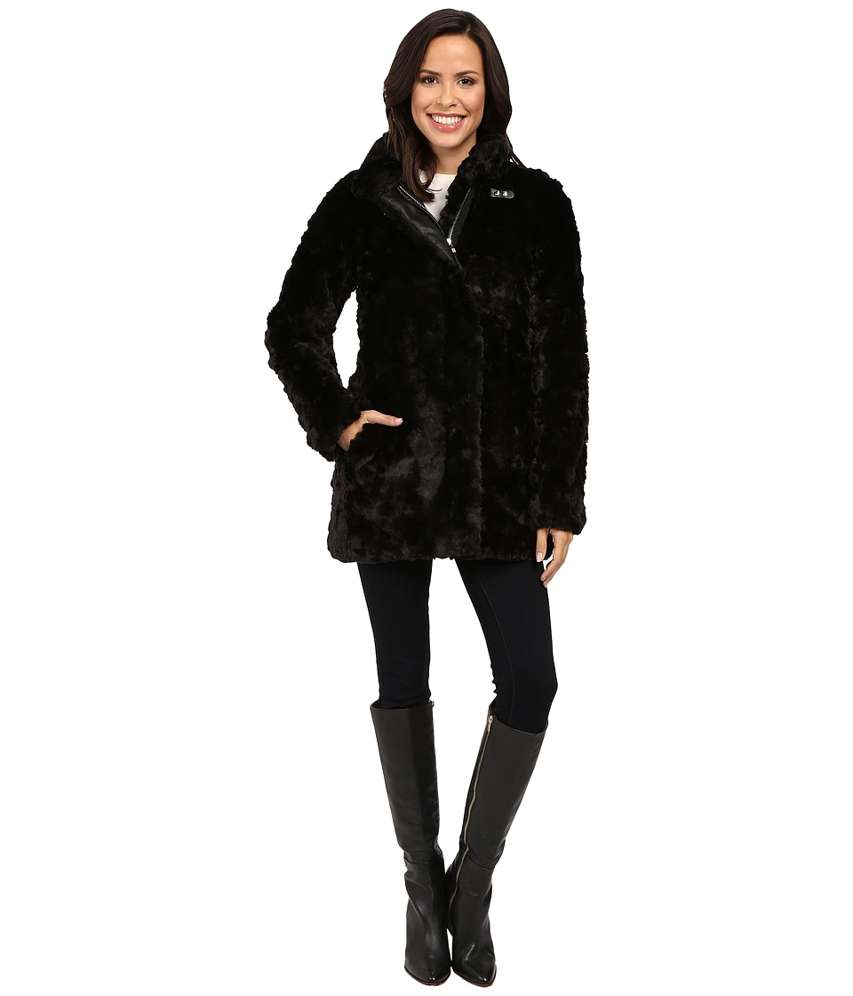 Calvin Klein - Faux Fur with Buckle Collar Detail (Black) Women's Coat