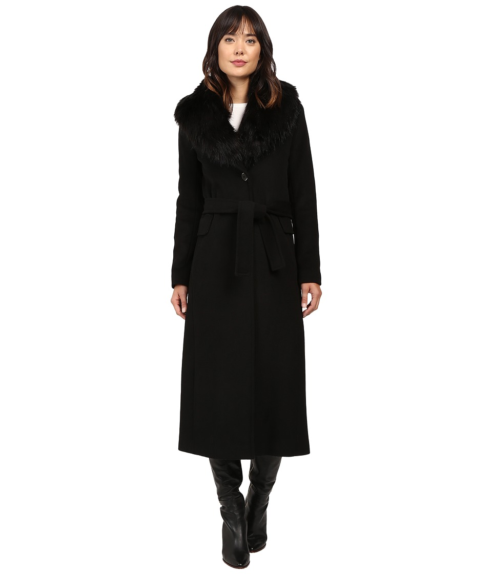 Calvin Klein - Maxi Wool Belted with Faux Fur Collar (Black) Women's Coat