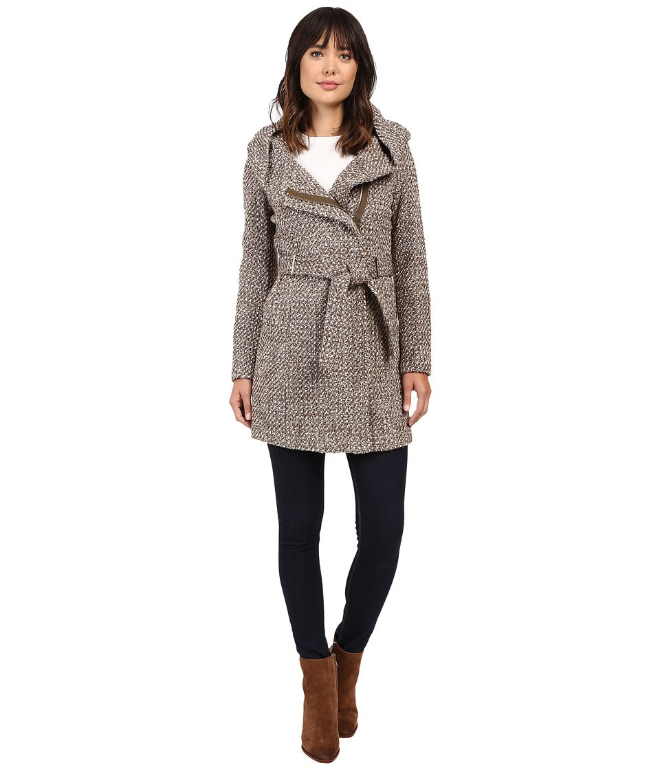 Calvin Klein - Tweed Belted Wool with Oversize Hood Collar (Flax/Mushroom) Women's Coat