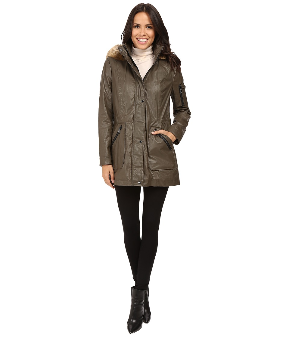 Calvin Klein - Waxy Rain Anorak with Detachable Faux Fur Hood (Olive) Women's Coat