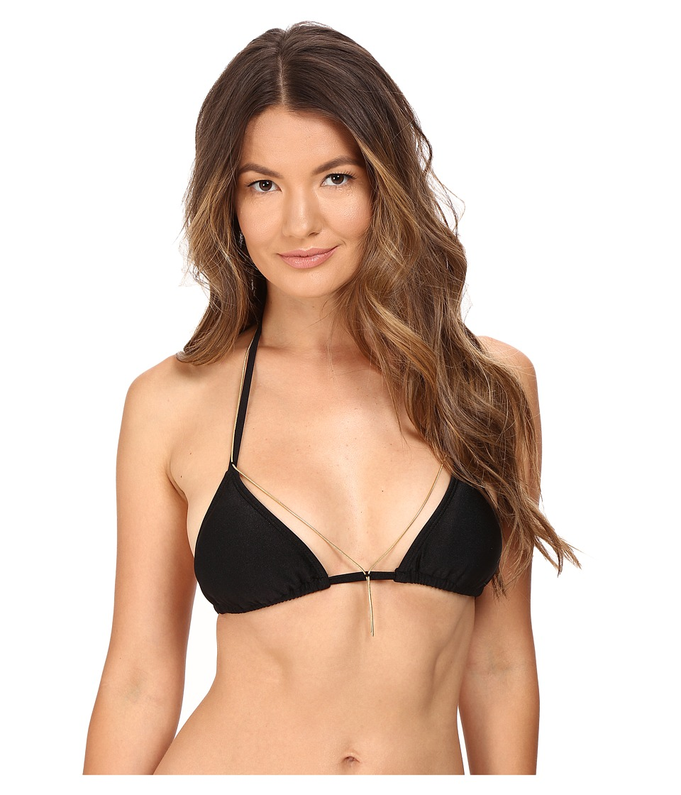Agua De Coco by Liana Thomaz - Triangle Chain Top (Black) Women's Swimwear