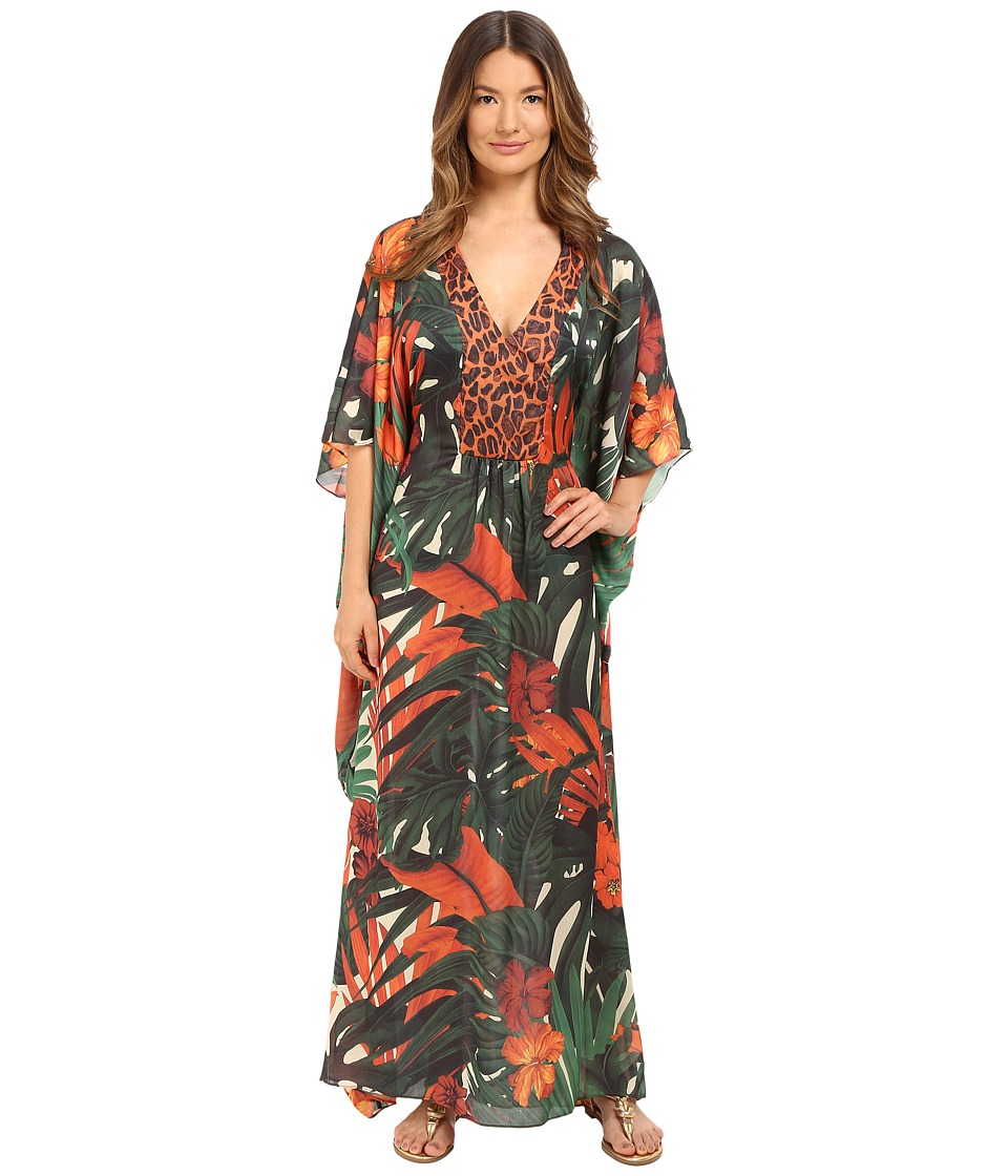 Agua De Coco by Liana Thomaz - Long Kaftan (Folhagem Girafa) Women's Swimwear