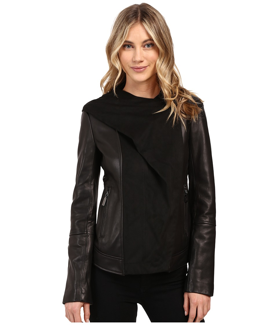 Vince Camuto - Fitted Leather with Faux Suede Cascade Hood L8941 (Black) Women's Coat