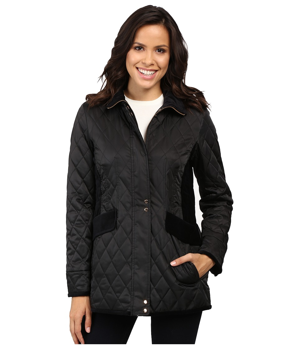 Vince Camuto - Quilted Jacket with Velvet Trim L8181 (Black) Women's Coat