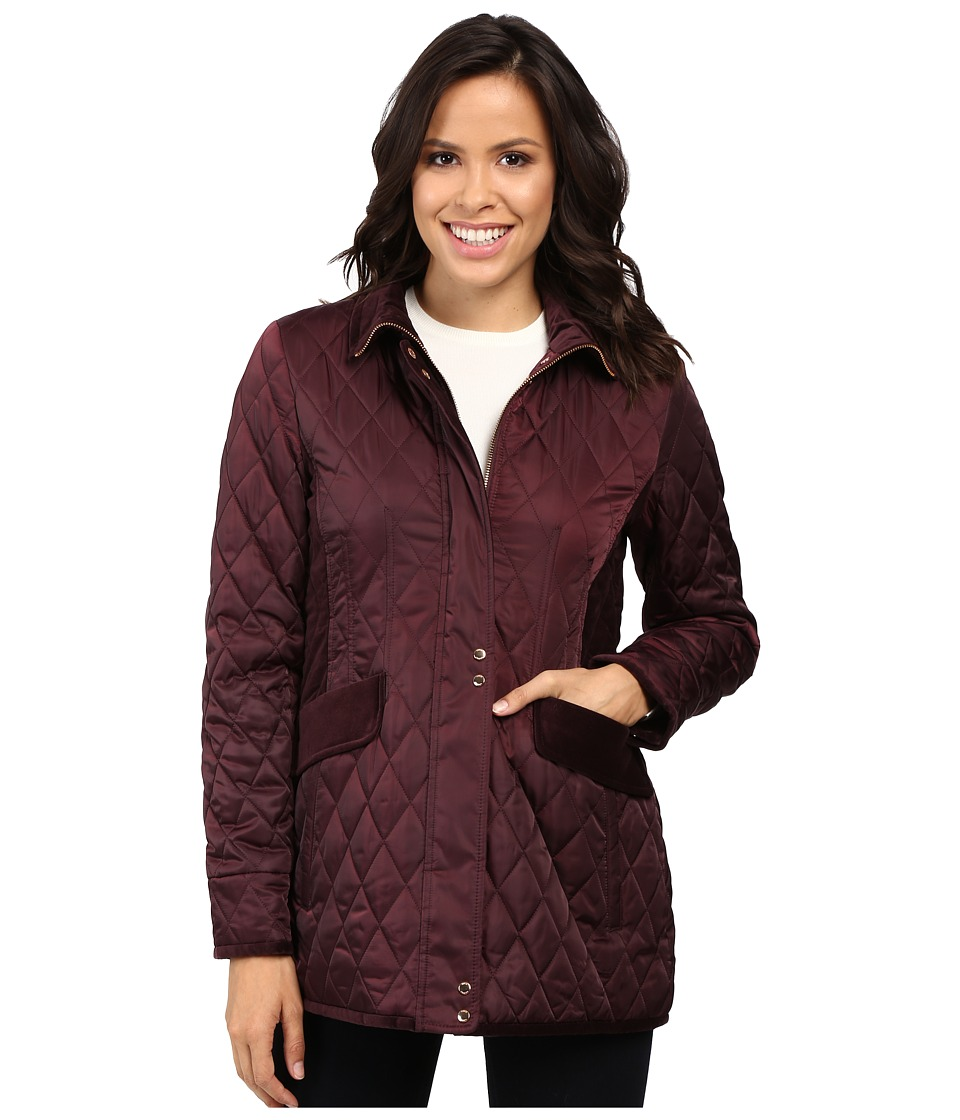 Vince Camuto - Quilted Jacket with Velvet Trim L8181 (Wine) Women's Coat