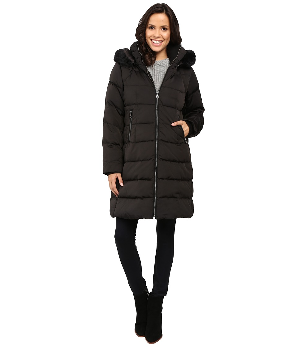 Vince Camuto - Zip Front Faux Fur Trim Down L1991 (Black) Women's Coat