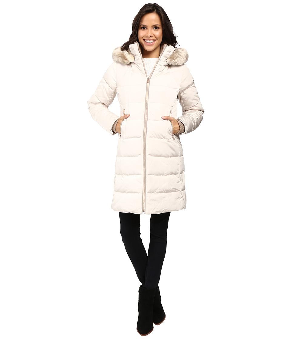 Vince Camuto - Zip Front Faux Fur Trim Down L1991 (Stone) Women's Coat