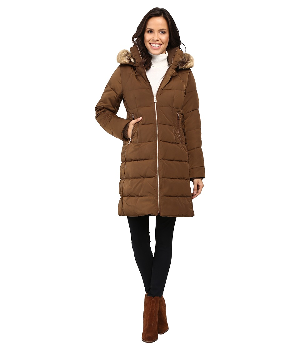 Vince Camuto - Zip Front Faux Fur Trim Down L1991 (Brass) Women's Coat
