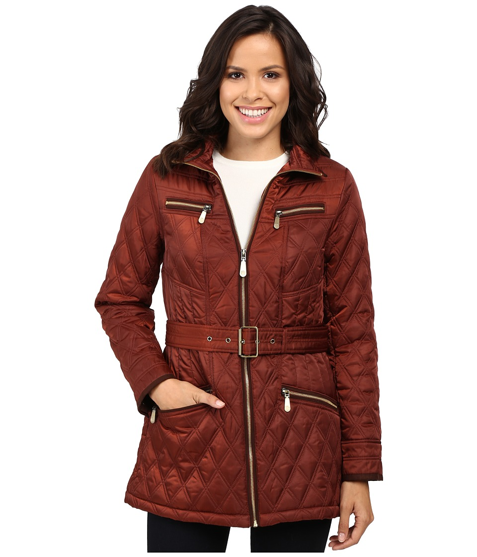 Vince Camuto - Belted Quilted Jacket L8101 (Rust) Women's Coat