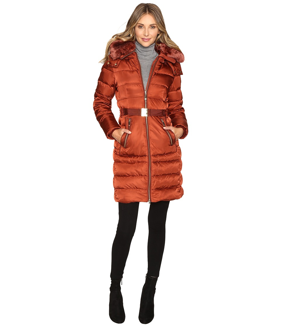 Vince Camuto - Belted Down with Removable Hood and Removable Faux Fur Collar L8691 (Rust) Women's Coat