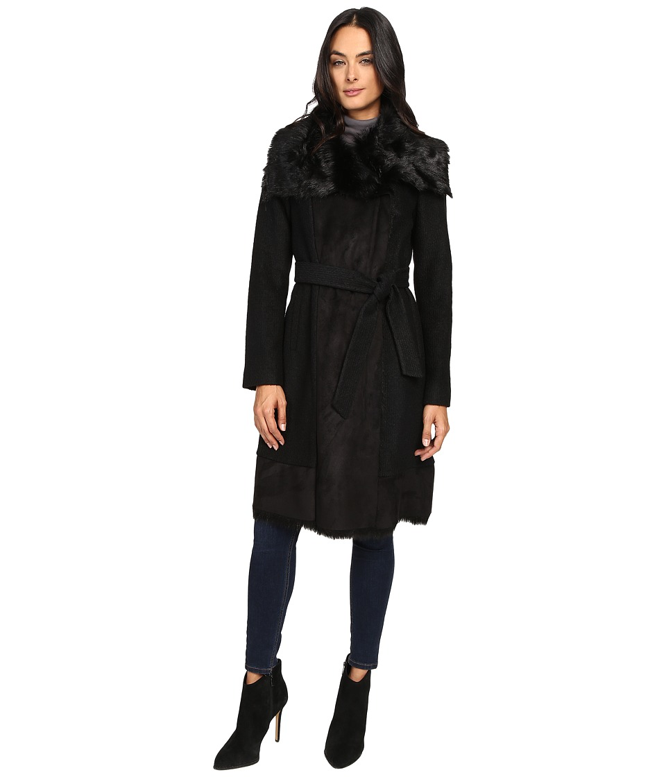 Vince Camuto - Belted Faux Fur Trim Wool Coat L1231 (Black) Women's Coat