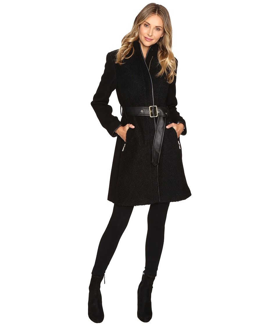 Vince Camuto - Belted Mixed Media Wool Jacket L1151 (Black) Women's Coat