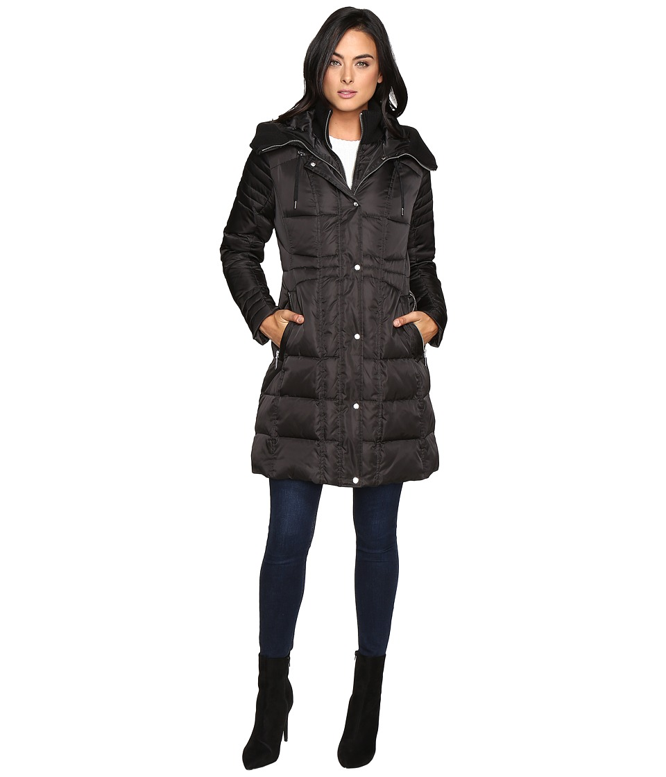 Vince Camuto - Knit Trim Collar Down L1731 (Black) Women's Coat