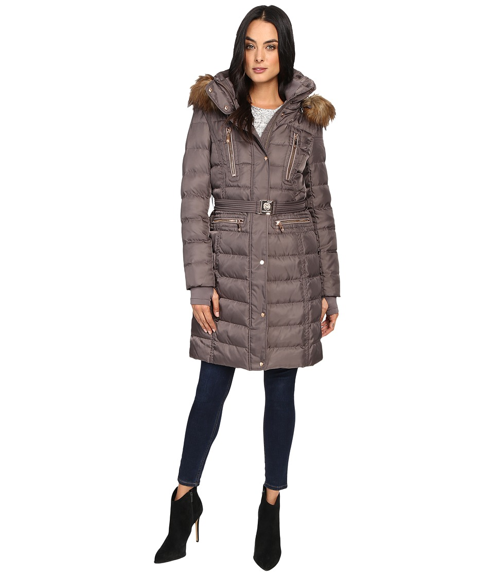 Vince Camuto - Belted Faux Fur Trim Wool Coat Removable Hood and Trim L1571 (Dark Taupe) Women's Coat