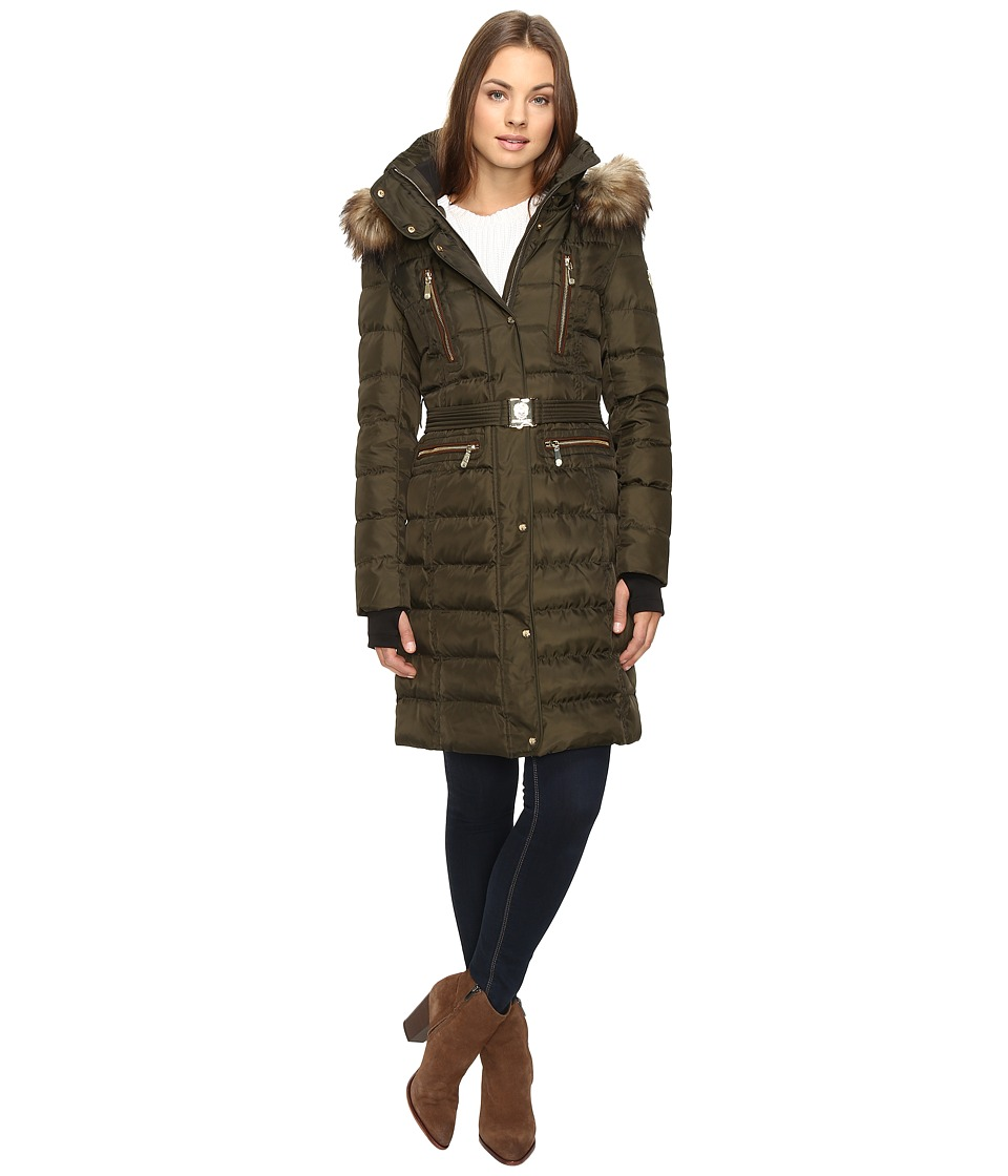 Vince Camuto - Belted Faux Fur Trim Wool Coat Removable Hood and Trim L1571 (Military) Women's Coat