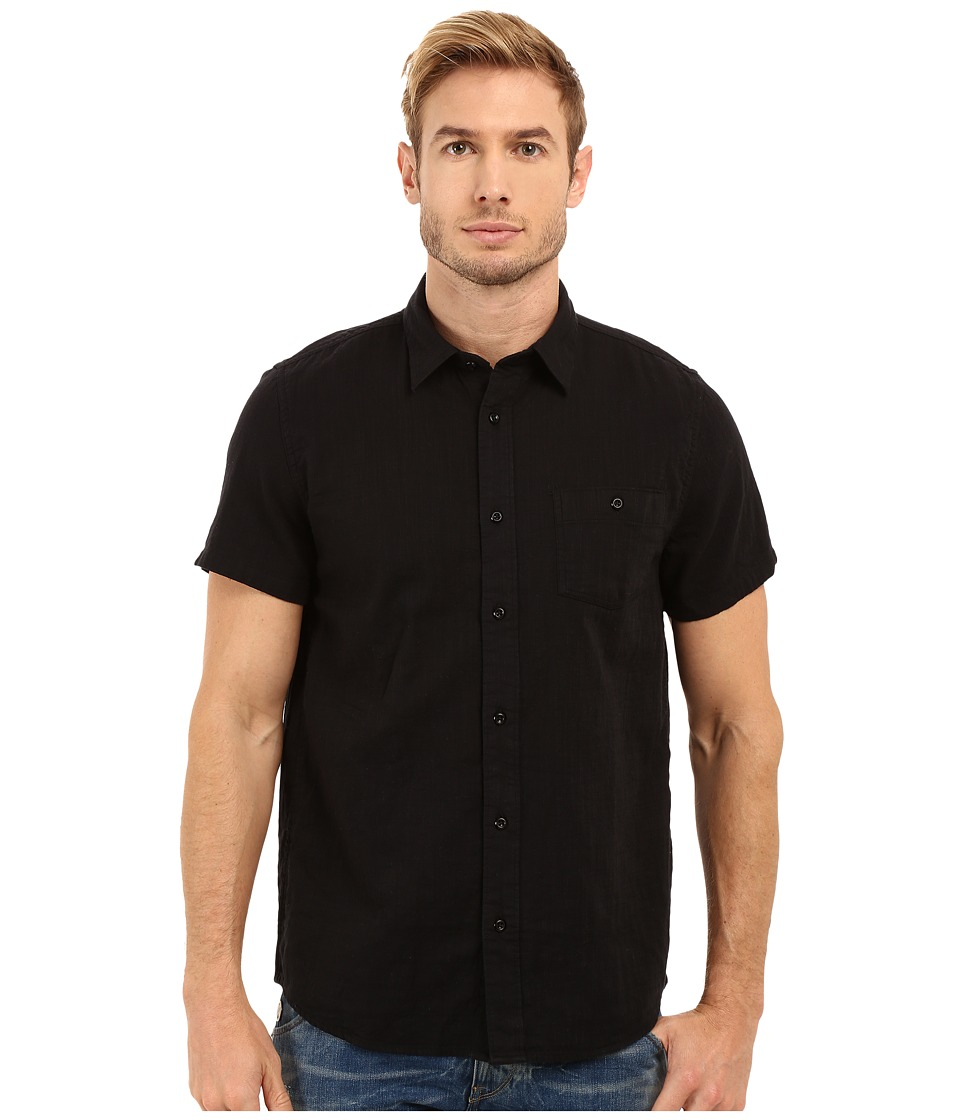 Threads 4 Thought - The Mesa Linen Weave Shirt (Washed Black) Men's Clothing