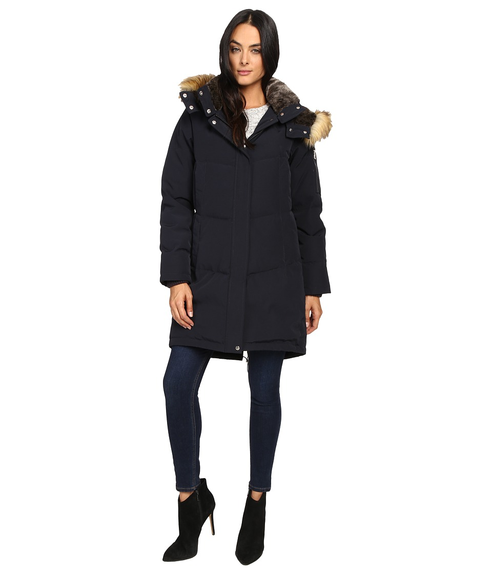 Vince Camuto - Faux Fur Trim and Lined Hooded Down Removable Hood L1011 (Navy) Women's Coat