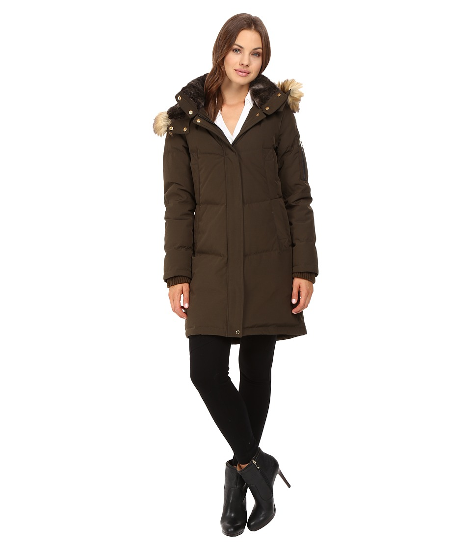 Vince Camuto - Faux Fur Trim and Lined Hooded Down Removable Hood L1011 (Olive) Women's Coat