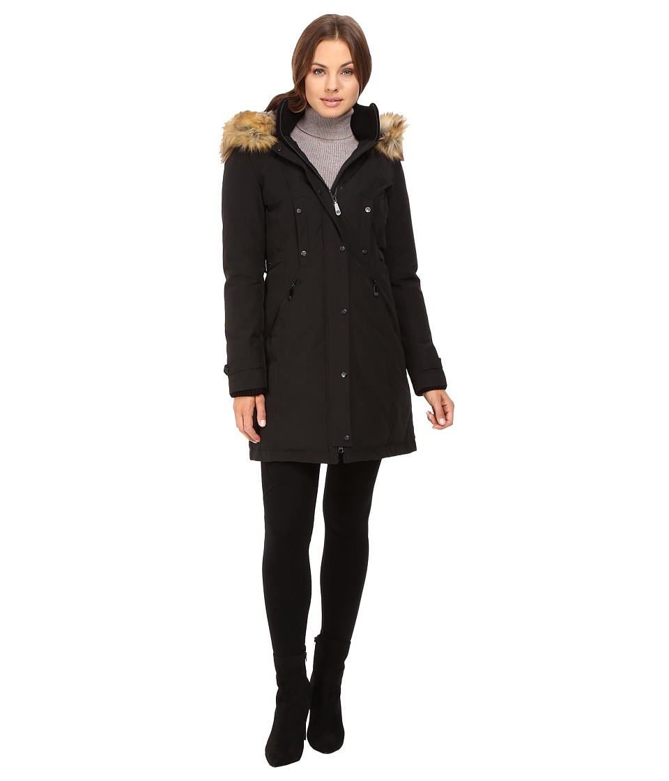 Vince Camuto - Faux Fur Trim and Lined Hooded Down Removable Trim L1721 (Black) Women's Coat