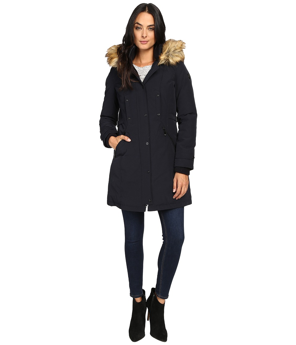 Vince Camuto - Faux Fur Trim and Lined Hooded Down Removable Trim L1721 (Navy) Women's Coat