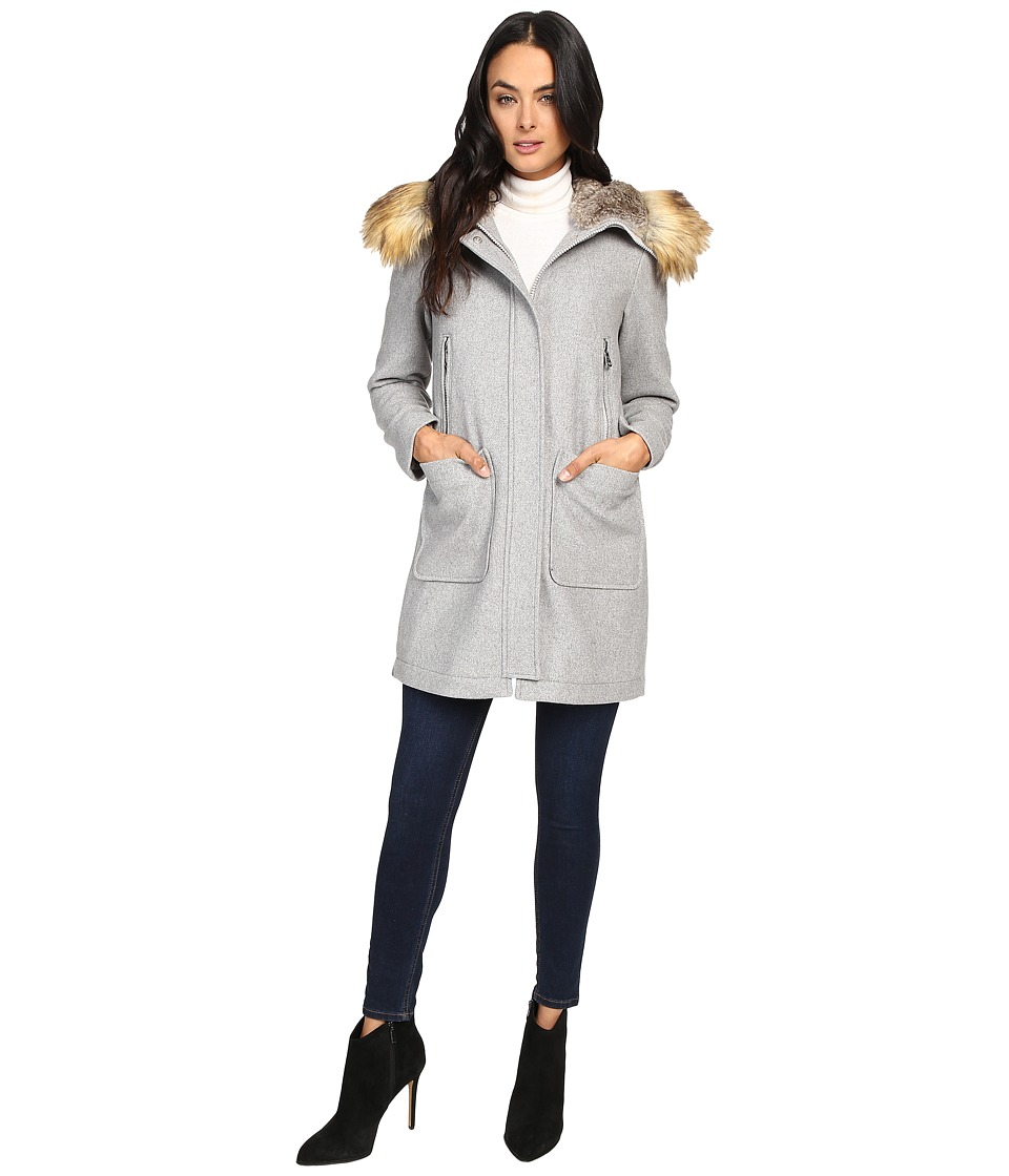 Vince Camuto - Faux Fur Trim Wool L8371 (Light Grey) Women's Coat