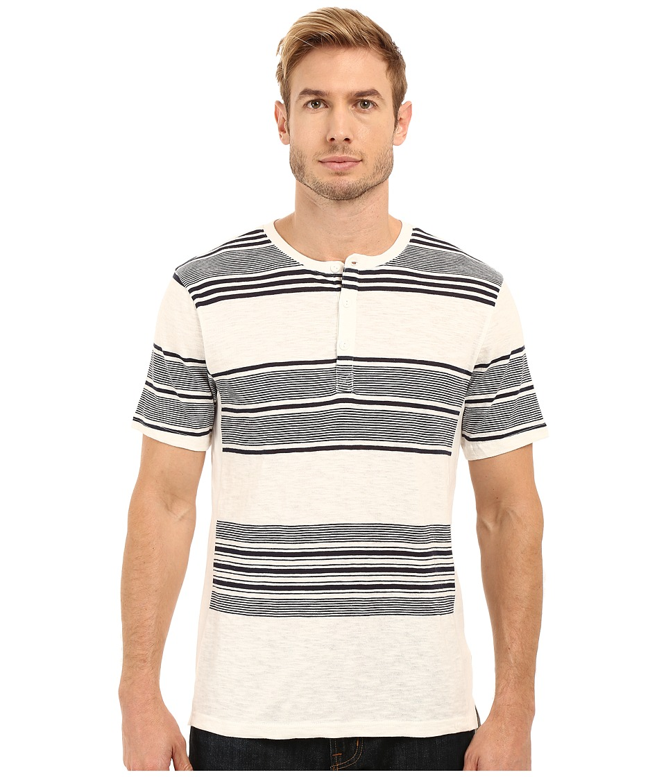 Threads 4 Thought - The Meyers Striped Henley (White/Navy) Men's Clothing